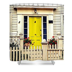 Shower Curtain featuring the photograph Yellow Door by Kendall McKernon