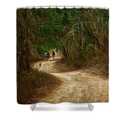 Shower Curtain featuring the photograph Yellow Dust Road by Cameron Wood
