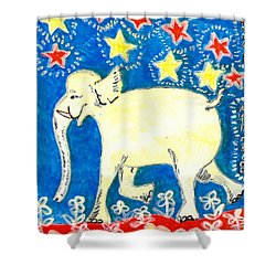 Yellow Elephant Facing Left Shower Curtain by Sushila Burgess