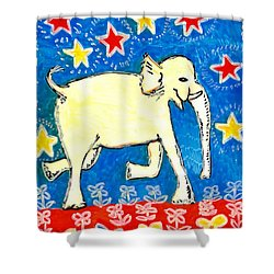 Yellow Elephant Facing Right Shower Curtain by Sushila Burgess