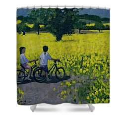 Yellow Field Shower Curtain by Andrew Macara