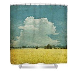 Yellow Field On Old Grunge Paper Shower Curtain by Setsiri Silapasuwanchai