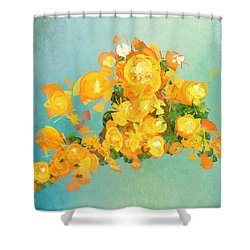 Yellow Fire Spring Shower Curtain