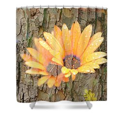 Yellow Flower Bark Shower Curtain
