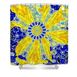 Yellow Flower On Blue Shower Curtain by Navo Art