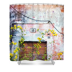 Shower Curtain featuring the photograph Yellow Flowers And Decayed Wall by Silvia Ganora