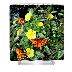 Yellow Flowers Butterflies Digital Painting Gulf Coast Florida Shower Curtain