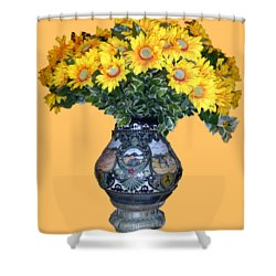 Shower Curtain featuring the photograph Yellow Flowers In Vase by Francesca Mackenney