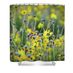 Yellow Flowers Shower Curtain by Kelly Wade