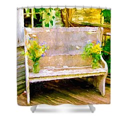 Yellow Flowers On Porch Bench Shower Curtain