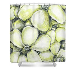 Yellow Flowers Pencil Shower Curtain