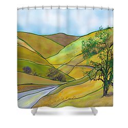 Yellow Foothills Shower Curtain