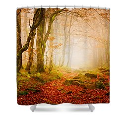 Yellow Forest Mist Shower Curtain