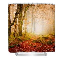Yellow Forest Mist Shower Curtain