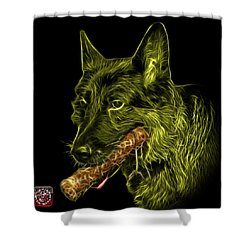 Yellow German Shepherd And Toy - 0745 F Shower Curtain by James Ahn