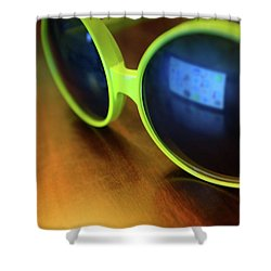 Shower Curtain featuring the photograph Yellow Goggles With Reflection by Carlos Caetano