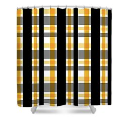Shower Curtain featuring the photograph Yellow Gold And Black Plaid Striped Pattern Vrsn 1 by Shelley Neff