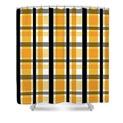 Shower Curtain featuring the photograph Yellow Gold And Black Plaid Striped Pattern Vrsn 2 by Shelley Neff