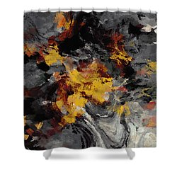 Shower Curtain featuring the painting Yellow / Golden Abstract / Surrealist Landscape Painting by Ayse Deniz