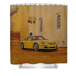 Yellow Gt3 Porsche Shower Curtain