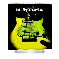 Shower Curtain featuring the photograph Yellow Guitar Full Time Occupation by Guitar Wacky