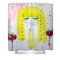 Yellow Hair Girl  Shower Curtain