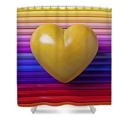 Yellow Heart On Row Of Colored Pencils Shower Curtain by Garry Gay