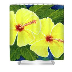 Yellow Hibiscus Flower #292 Shower Curtain by Donald k Hall