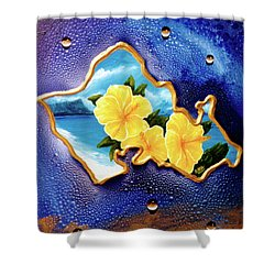 Yellow Hibiscus Hawaii State Flower #142 Shower Curtain by Donald k Hall