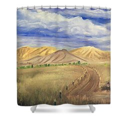 Yellow Hills Of Jensen Shower Curtain by Sherril Porter