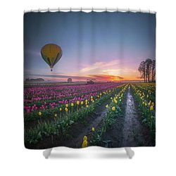 Shower Curtain featuring the photograph Yellow Hot Air Balloon Over Tulip Field In The Morning Tranquili by William Lee