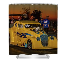 Shower Curtain featuring the photograph Yellow Hot Rod by Bill Gallagher