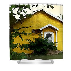 Shower Curtain featuring the digital art Yellow House In Shantytown  by Shelli Fitzpatrick