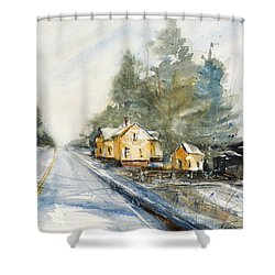 Yellow House On The Right Shower Curtain by Judith Levins