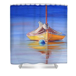 Yellow Hull Sailboat Iv Shower Curtain by Trina Teele