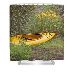 Shower Curtain featuring the photograph Yellow Kayak by Tom Singleton