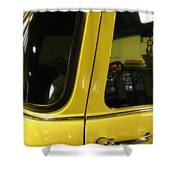 Yellow Lady Abstract Shower Curtain by Peter Piatt
