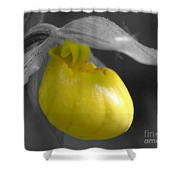 Yellow Lady Slipper Partial Shower Curtain by Smilin Eyes  Treasures