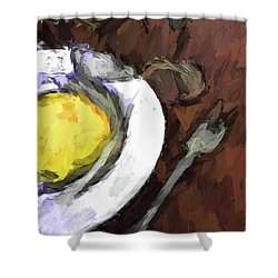 Yellow Lemon In A White Bowl With A Fork And A Wine Glass Shower Curtain