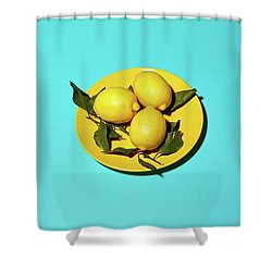 Yellow Lemons On Cyan Shower Curtain by Oleg Cherneikin