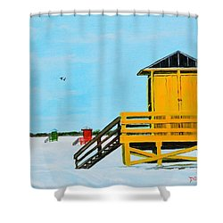 Yellow Life Guard Shack On Siesta Key Shower Curtain