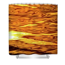 Yellow Light On Water  Shower Curtain by Lyle Crump