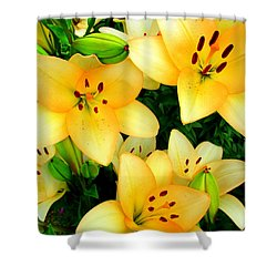 Shower Curtain featuring the photograph Yellow Lilies 3 by Randall Weidner