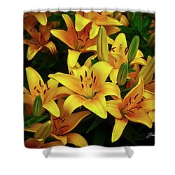 Shower Curtain featuring the photograph Yellow Lilies by Joann Copeland-Paul