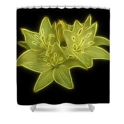 Yellow Lilies On Black Shower Curtain by Sandy Keeton