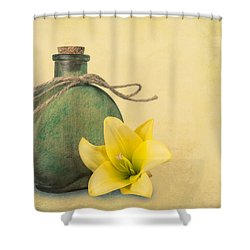 Yellow Lily And Green Bottle II Shower Curtain
