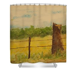 Shower Curtain featuring the painting Yellow Meadow  by Vicki  Housel