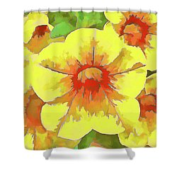 Yellow Million Bells Shower Curtain