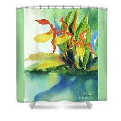 Shower Curtain featuring the painting Yellow Moccasin Flowers by Kathy Braud