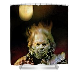 Yellow Moon On The Rise Shower Curtain by Mal Bray